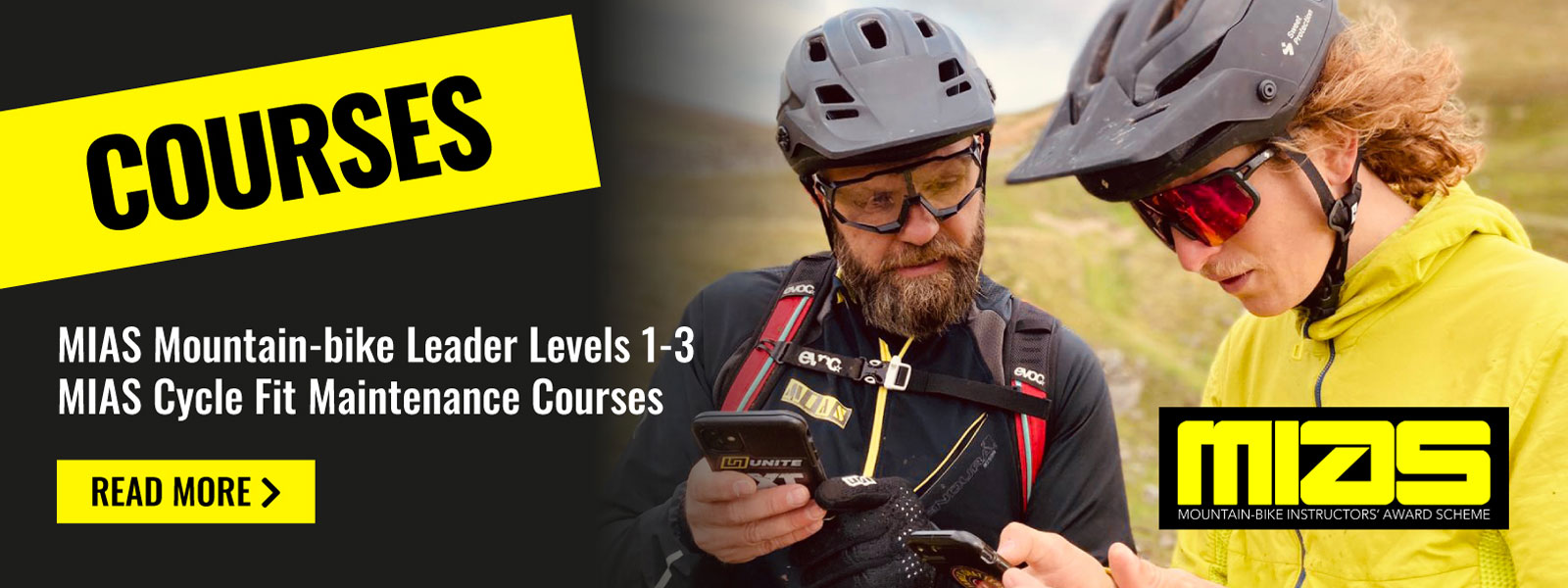 Courses - MIAS Mountain-bike leader Levels 1 - 3 & MIAS Cycle Fit Maintenance Courses - Read more >